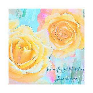 Artistic romantic Roses custom (marrige) text Canvas Print