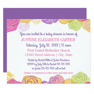 Artistic Roses - 4x5 Baby Shower Invitation