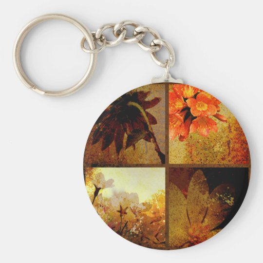Artistic Rustic Floral Basic Round Button Key Ring