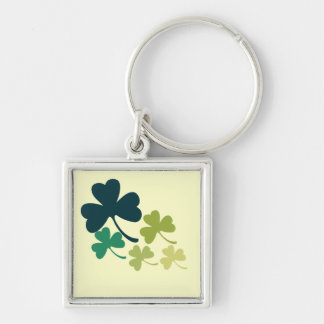 Artistic Shamrocks Silver-Colored Square Key Ring