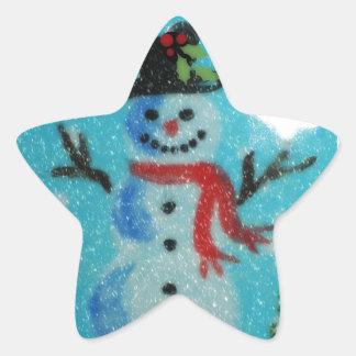 Artistic Snowman Star Sticker