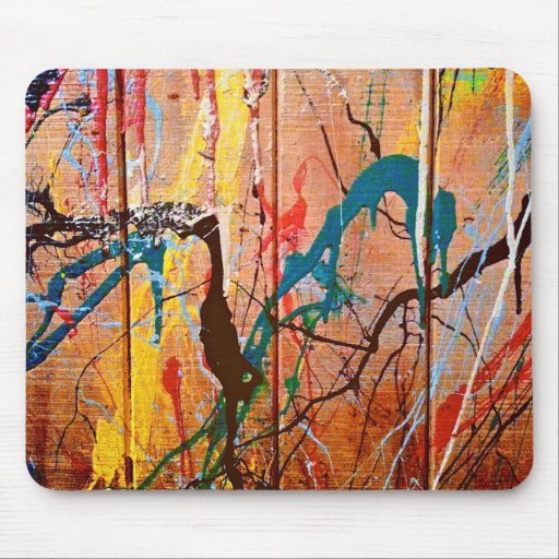 Artistic Splattered Paint on Wood Mousepads