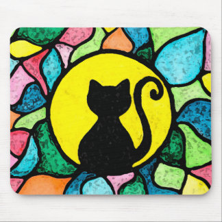 Artistic Stained Glass Watercolor Cat Mousepad