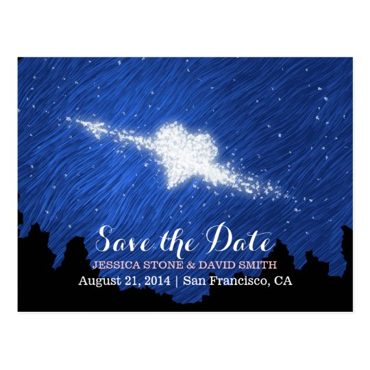 Artistic Starry Night Save the Date Wedding Postcard