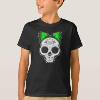 Artistic Sugar Skull (green bow) T-Shirt