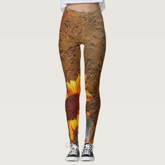 Artistic Sunflower Against Textured Wall Bokah Leggings