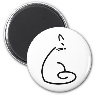 Artistic Swirly Cat Silhouette Magnet