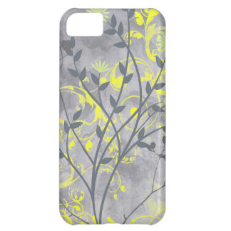 Artistic swirly grunge gray floral iPhone 5C cases