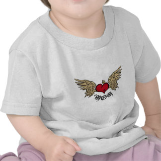 Artistic Tattoo Mom Crowned Heart with Wings Tshirt