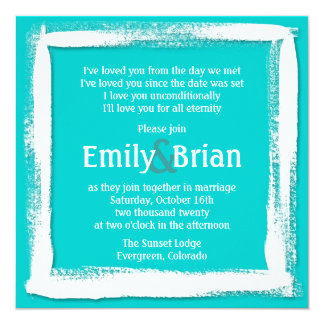 Artistic teal blue white paint wedding invitations