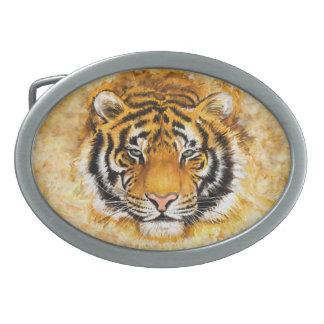 Artistic Tiger Face Oval Belt Buckle