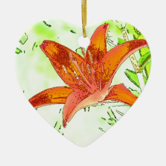 Artistic Tiger Lily Christmas Ornament