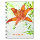 Artistic Tiger Lily Personalised Notebook