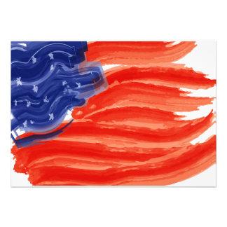 Artistic USA Flag Invitations