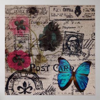 Artistic vintage postmark poppy flower Paris chic Print