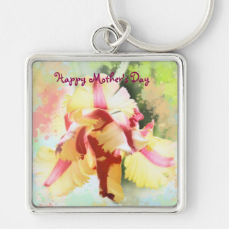 Artistic water colour Parrot Tulip Key Ring