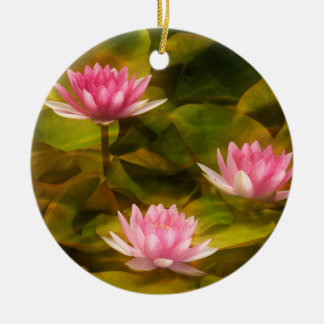 Artistic water lilies, California Round Ceramic Decoration