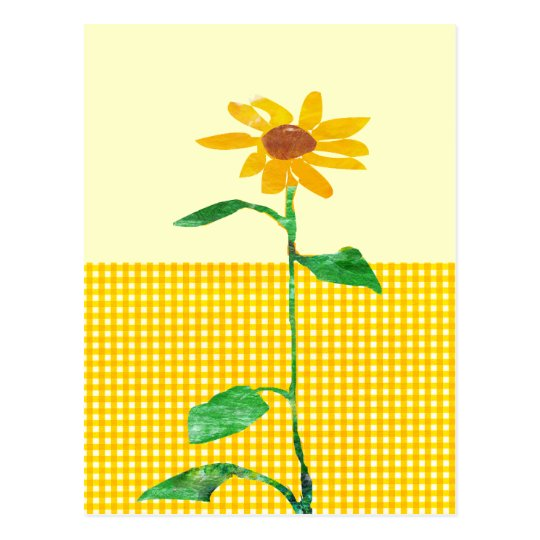 Artistic Watercolor Sunflower Gingham Patterns Postcard
