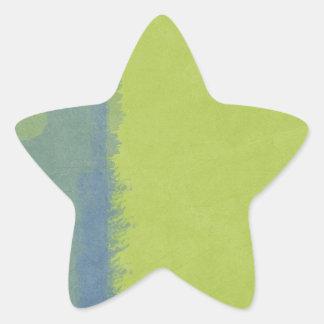Artistic Watercolor Wash: Spring Green  Blue Bar Star Sticker