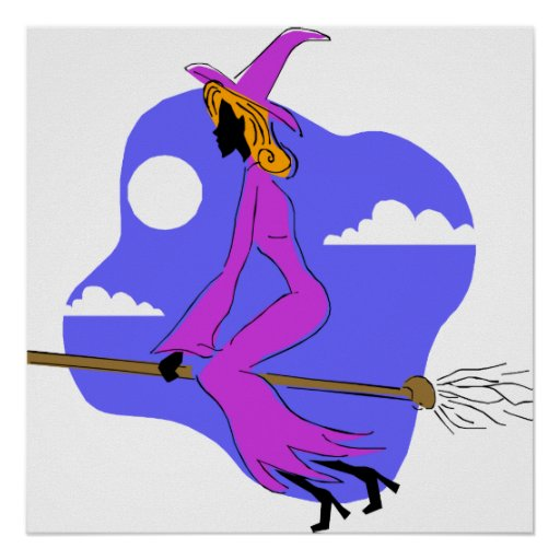 Artistic witch on broom poster