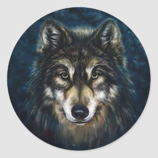 Artistic Wolf Face Stickers