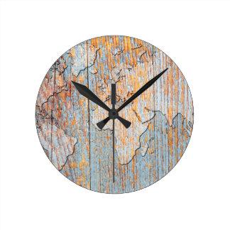 Artistic wooden world map round clock