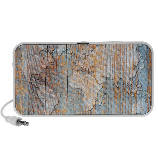 Artistic wooden world map travelling speakers