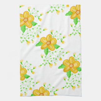 Artistic Yellow Floral Kitchen Towels
