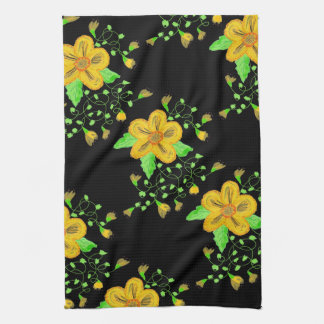 Artistic Yellow Floral With Black Tea Towel