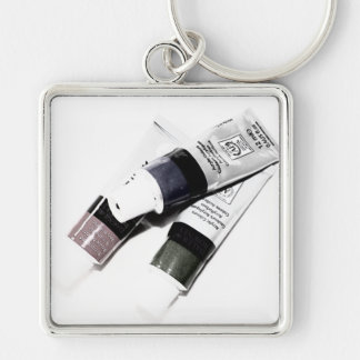 Artist's Acrylic Paint Tubes Picture Silver-Colored Square Key Ring