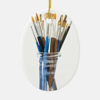 Artists brushes ceramic oval decoration
