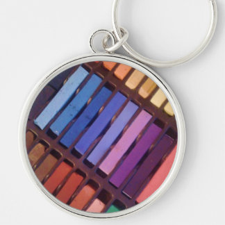 Artist's Color Pastels Silver-Colored Round Key Ring