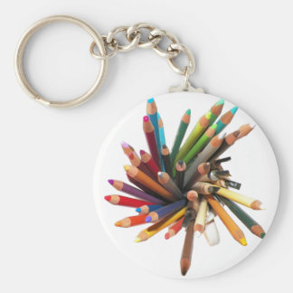 Artists Colored Oil Pencils Basic Round Button Key Ring