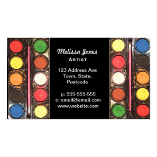 Artist's colorful paint color box business card