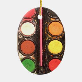 Artist's colorful paint color box ceramic oval decoration