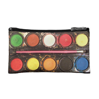 Artist's colorful paint color box cosmetic bag
