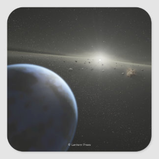 Artist's concept of an astroid belt Photograph Square Sticker