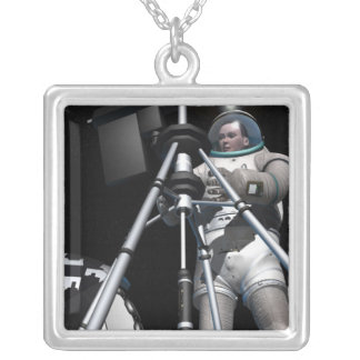 Artist's concept of future space exploration silver plated necklace