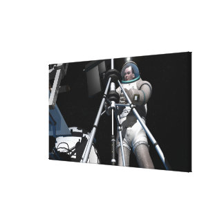 Artist's concept of future space exploration stretched canvas print