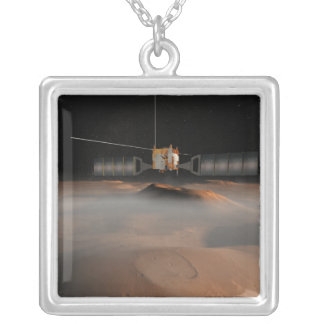 Artist's concept of Mars Express spacecraft Silver Plated Necklace