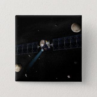 Artist's concept of the Dawn spacecraft in orbi 15 Cm Square Badge