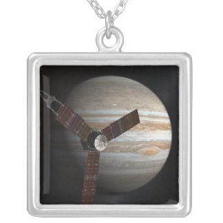 Artist's concept of the Juno spacecraft Silver Plated Necklace