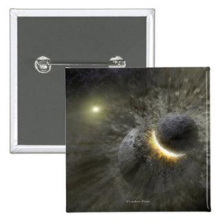 Artist's concept Space Collision at Vega 15 Cm Square Badge