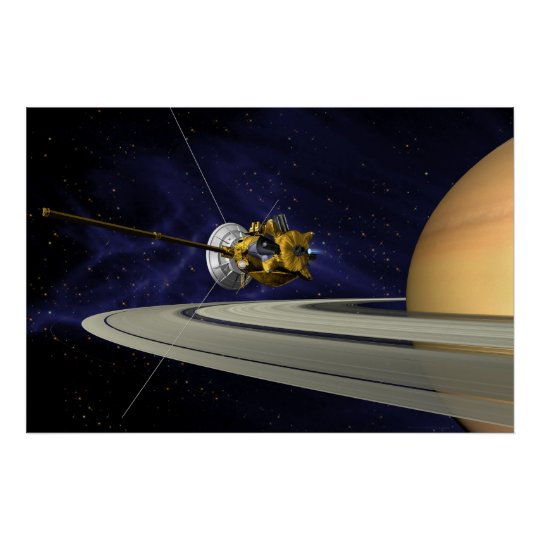 Artist's Conception of Cassini Saturn Orbit Insert Poster