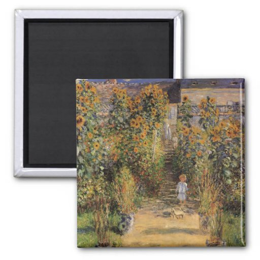 Artist's Garden at Vetheuil by Monet, Vintage Art Fridge Magnet