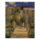 Artist's Garden at Vetheuil by Monet, Vintage Art Posters