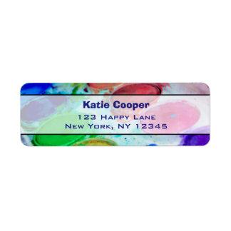 Artists Multicolored Watercolor Paint Palette Return Address Label