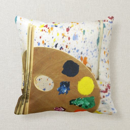 Artists Paint Splatter And Pallet of Paint Throw Pillows