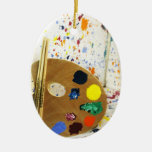 Artists Paint Splatter And Pallet of Paint Christmas Tree Ornaments