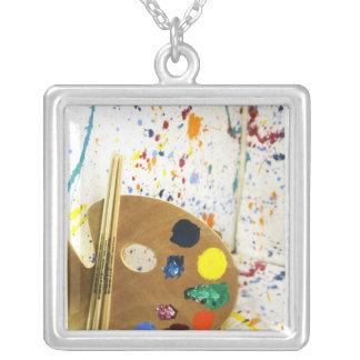 Artists Paint Splatter And Pallet of Paint Necklace